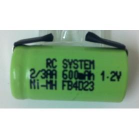 RCS 2/3AA 1,2V 600mAh cell m/lödöron